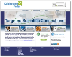 CollaborationFinder website design